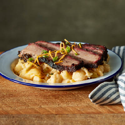 Loaded Mac and Cheese with Sliced Brisket